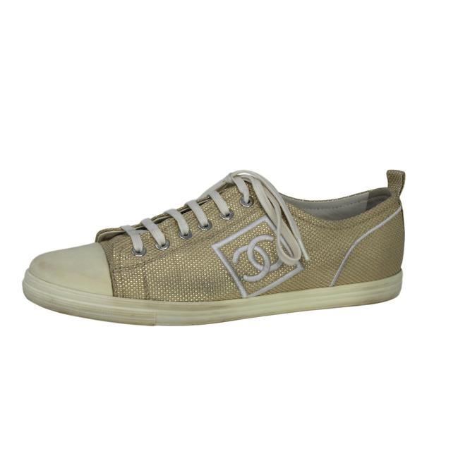 Item - White & Gold Metallic Canvas Woven Low-top Sneakers Size US 9 Regular (M, B)