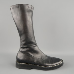 Ann Demeulemeester Leather Contrast Black Boots