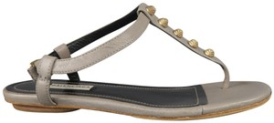 Balenciaga Studded Flat Leather Gold Sandals