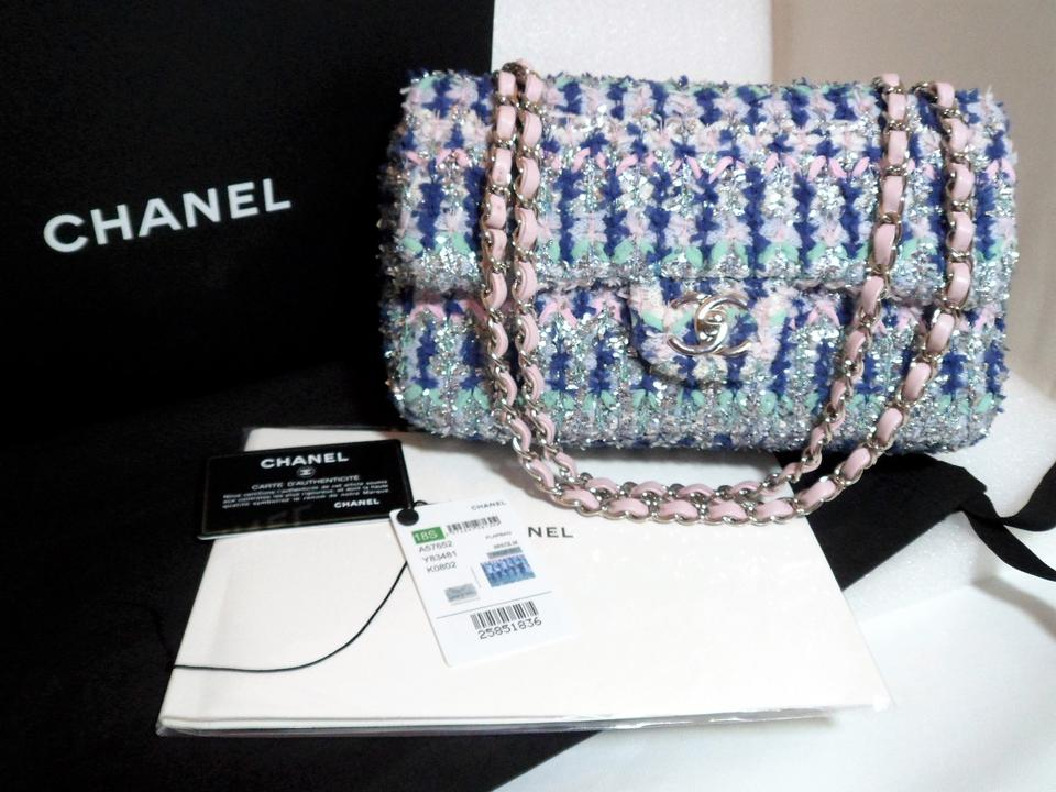 61ebc8c3cef3 Chanel Classic Metallic Pink Multi Knit Medium Flap Runway S/S 2018 ...