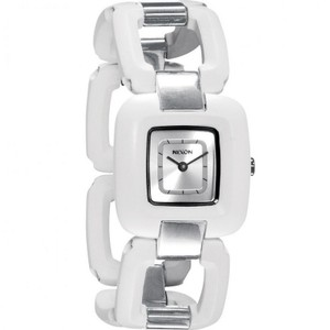 Nixon A248100 Women's White Plastic Band With Silver Analog Dial Watch