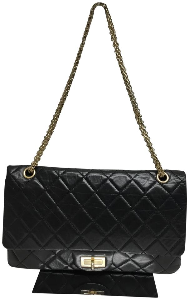 11690acc087b Chanel 2.55 Reissue Double Flap Jumbo Classic Black Leather Shoulder ...