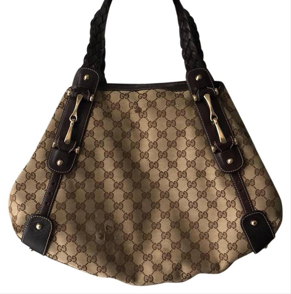 cc4a626fcba6 Gucci Pelham Brown and Tan Gg Canvas Medium Tote with Gold-tone Hardware  Chocolate Leather Trim with Round Stud and Dual Hobo Bag