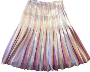 Lafayette 148 New York Night Out Date Night Summer Metallic Skirt Pink/Gold