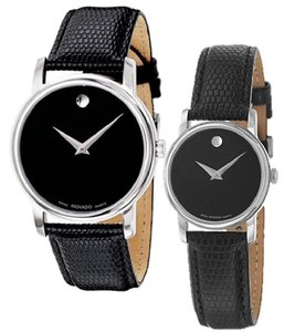 Movado Stainless Steel Black Museum Dial 26mm Womens 2100004 Swiss Made Watch