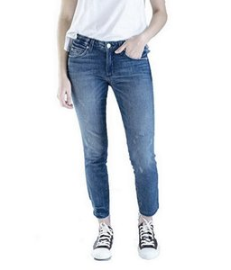 AMO Denim Stix Crop Straight Leg Jeans-Distressed