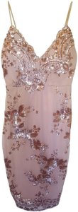 L'ATISTE Midi Gold Sequin Embellished Dress