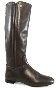 Tory Burch Knee-high Back Zip Leather Riding Brown Boots