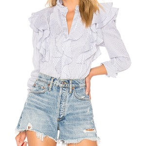 BCBGMAXAZRIA Top white blue stripes