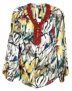 Magaschoni Desert Floral Silk Beaded Sheer Hi Low Tunic