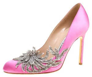 Manolo Blahnik Satin Embellished Pink Pumps