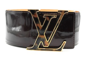 Louis Vuitton Ultra RARE Extra wide Vernis LV gold buckle leather Belt Logo 75 30