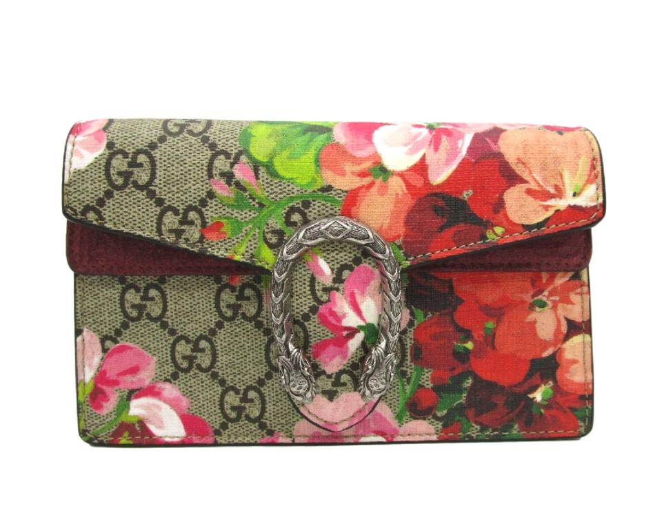025b0f8a9665d3 Gucci Chain Wallet Dionysus Super Mini Blooms Pink Coated Canvas ...