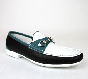 Gucci White Black Blue Horsebit Men's Leather Loafer Moccasin 337060 Ayo70 11/Us 12 Shoes