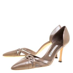 Manolo Blahnik Cut-out Pointed Toe Brown Pumps