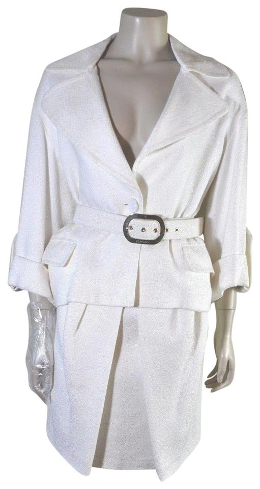 5126bd90ba97 Versace Versace Vintage Winter White 3 4 Sleeve Belted Two Piece Women s 42  Image 0 ...