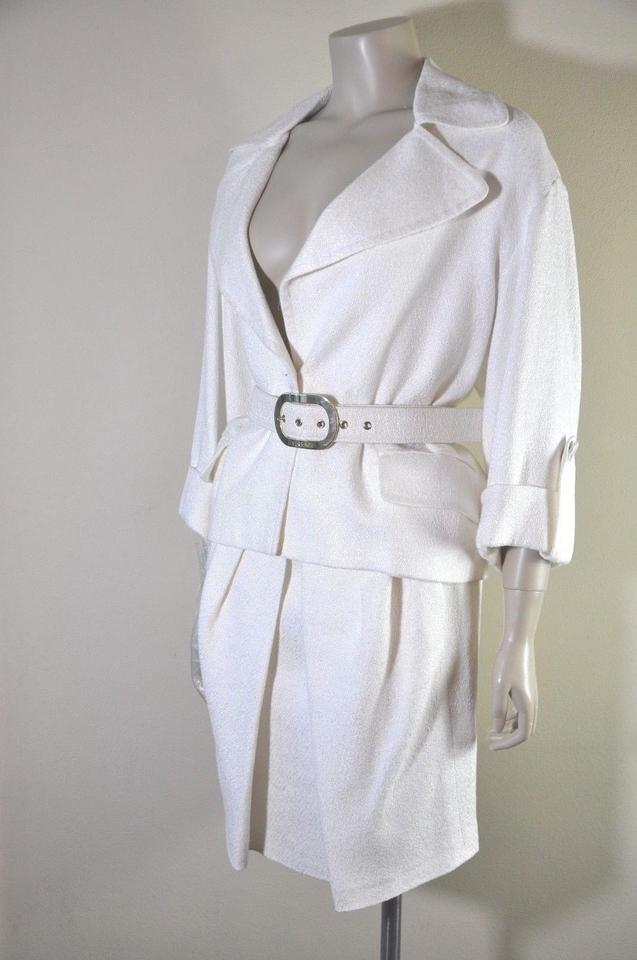 Versace Winter White Vintage 3 4 Sleeve Belted Two Piece Women S 42