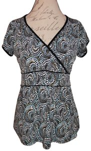 Christopher & Banks Geometric Print Stretch Cap Sleeves Top Black, Beige, Blue, White
