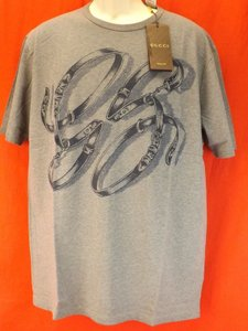 Gucci Gray Horsebit Men's Cotton Gg Belts Logo Sleeves T- Xl Shirt