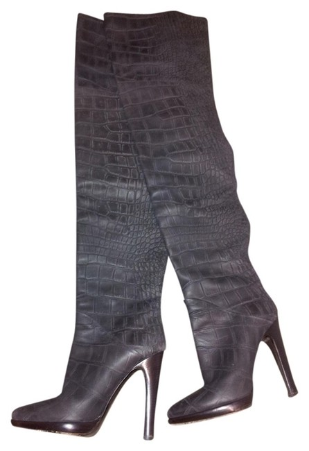 Item - Grey Embossed Thigh High Boots/Booties Size US 6.5 Regular (M, B)