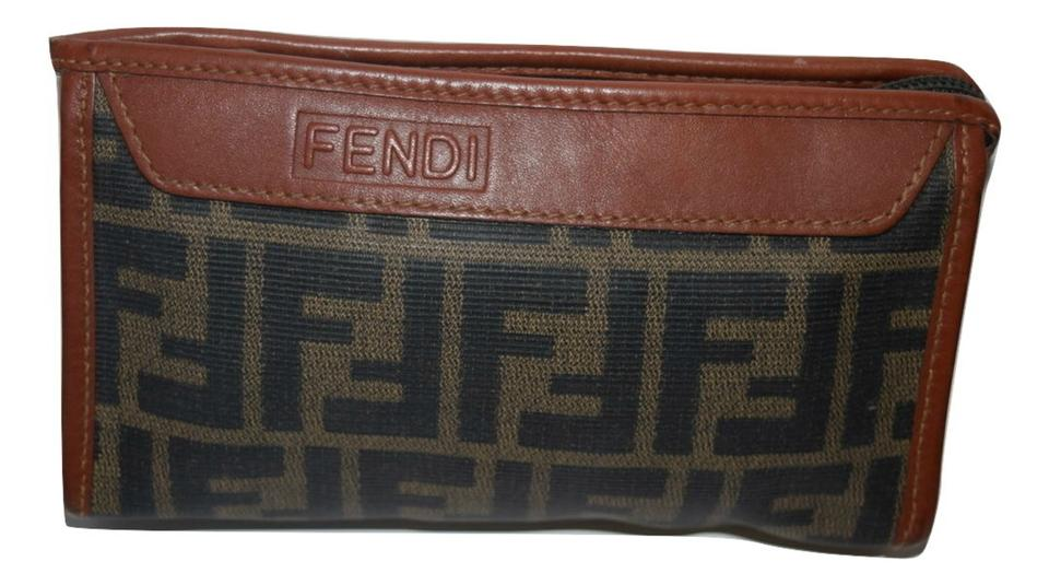 ef8c4a4c029 Fendi Vintage Makeup Case Cosmetic Brown Zucca Canvas Clutch - Tradesy