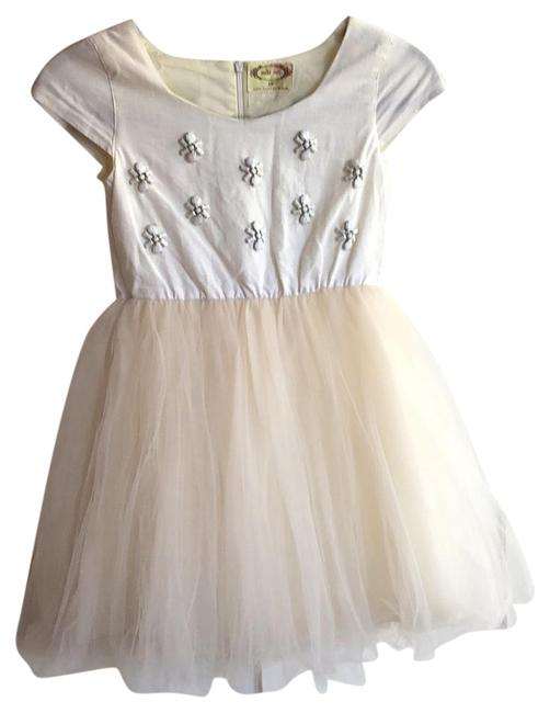 Cream White Kids Tulle Short Formal Dress Size 10 (M) Cream White Kids Tulle Short Formal Dress Size 10 (M) Image 1