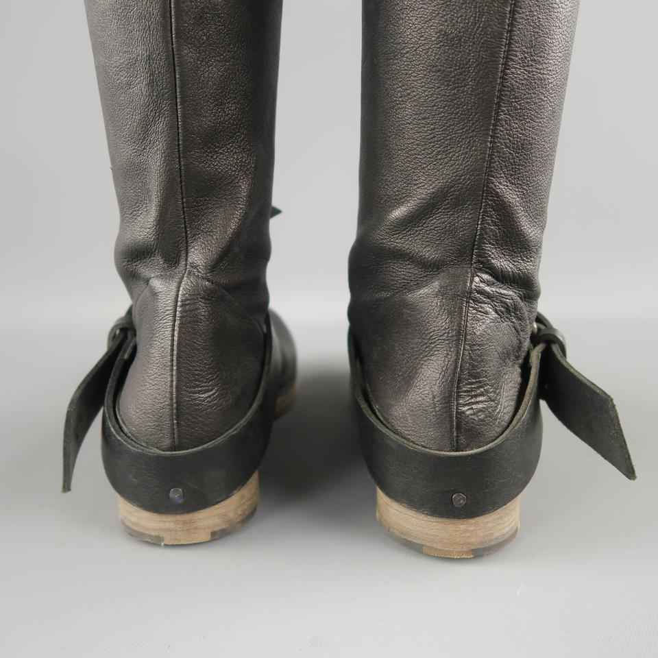bf02694eb24 Black Thigh High Ankle Strip Biker Boots/Booties Size US 7 Regular (M, B)  66% off retail