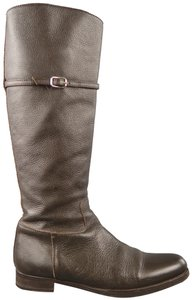 Jil Sander Leather Round Toe Brown Boots