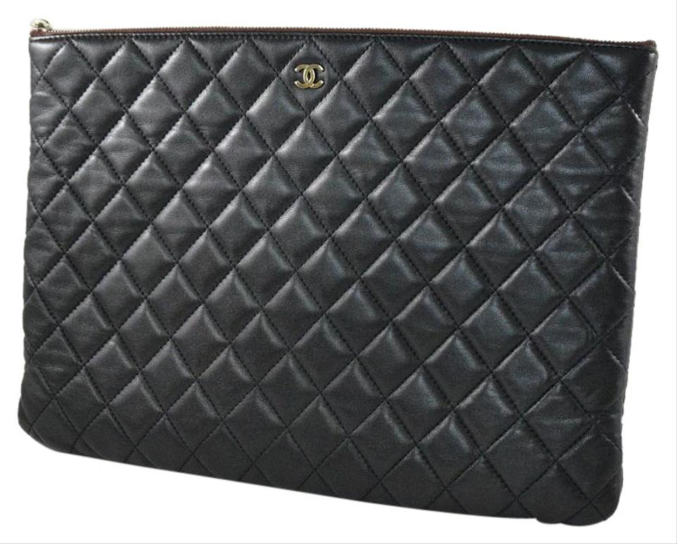 d6a08af1f979 Chanel Clutch Quilted Large O Case Black Lambskin Leather Clutch ...