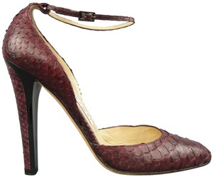 Jimmy Choo Ankle Strap Leather Plum Pumps
