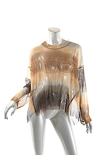 Item - Rust Black Multicolor Ombre Browns Taupe Gray Polyester Mesh Crinkled Crop Tee Shirt Size OS (one size)