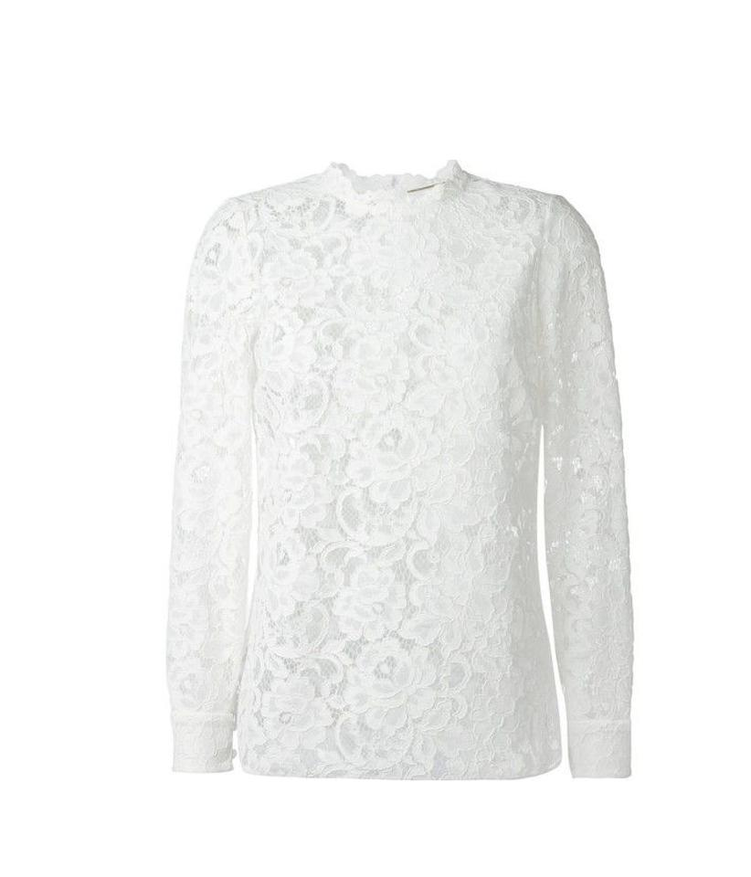 0d400e71905 Saint Laurent White Embroidered Floral Lace Blouse Size 8 (M) - Tradesy