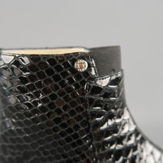 Jimmy Choo Leather Ankle Stripes Black Boots