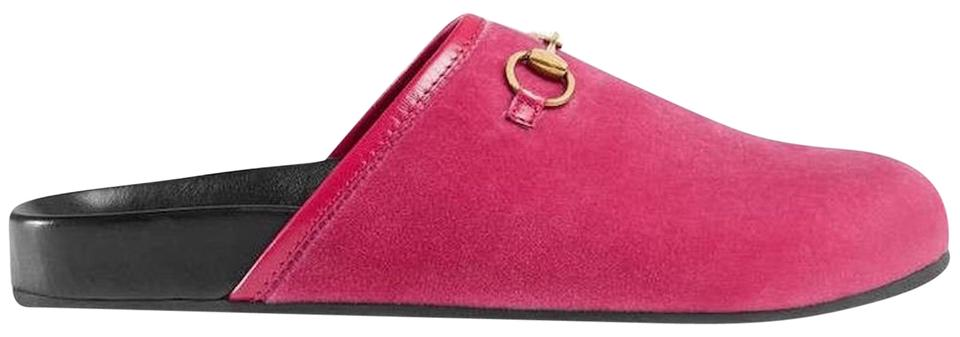 4900385db1f Gucci Pink Horsebit New River Velvet Slide Mule Slipper Flats. Size  EU 38  ...