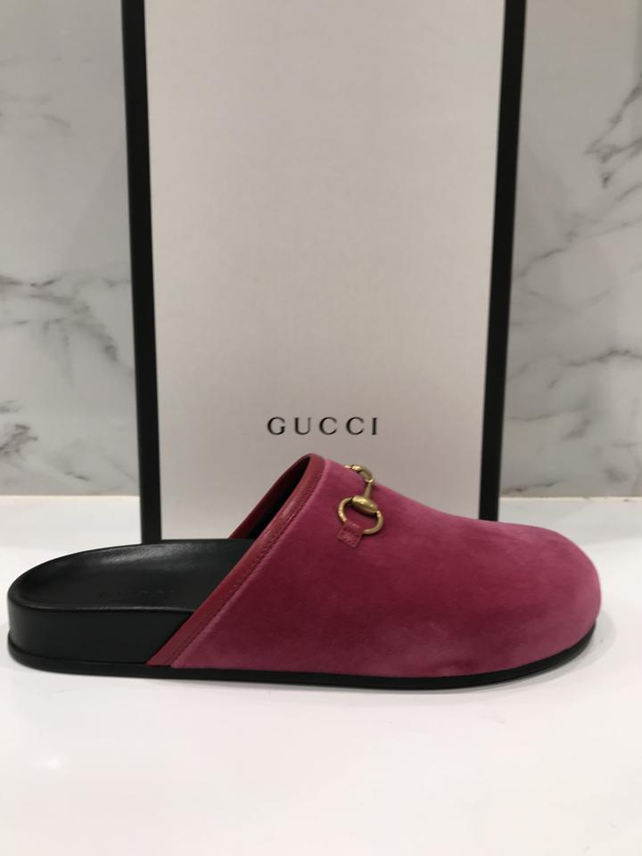bd17fba2ede Gucci Pink Horsebit New River Velvet Slide Mule Slipper Flats Size EU 38  (Approx. US 8) Regular (M