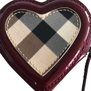 Burberry Burberry Burgundy Nova Check Heart Zip Coin Purse Holder Pouch