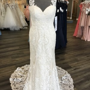Casablanca Ivory/Light Gold Satin/Lace 2261 Poinsettia Formal Wedding Dress Size 10 (M)