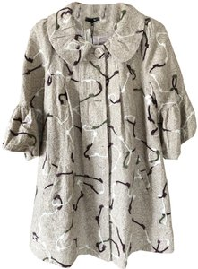 Ryu Boutique Style Fully Lined Bell Sleeve Yarn Embellishments Covered Buttons Beige background with white, dark brown, and grey designs Blazer