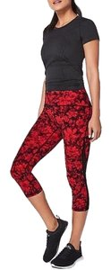 "Lululemon gently Used Lululemon Train Times Crop *21"" CarmineTrue Red Black"