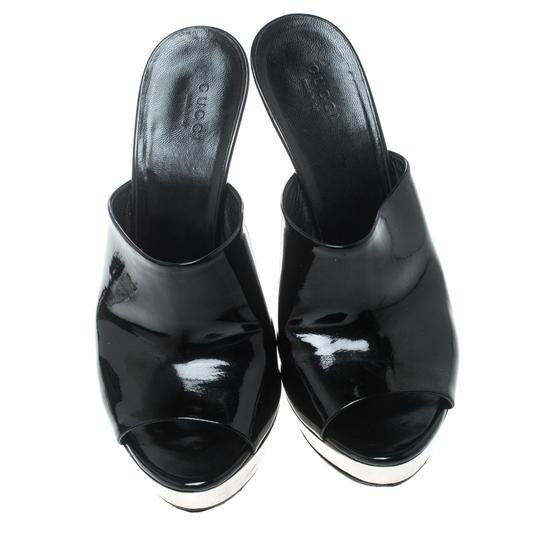 Gucci Patent Leather Open Toe Leather Rubber Black Sandals