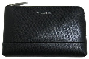 Tiffany & Co. Black Zip Pouch Textured Leather Wallet
