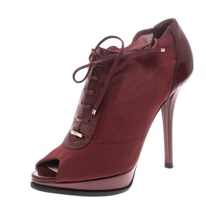 Burberry Mesh Patent Leather Peep Toe Red Boots