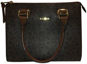 Calvin Klein Collection Satchel in CK Canvas Monogram/Leather Classic chocolate/black piping.