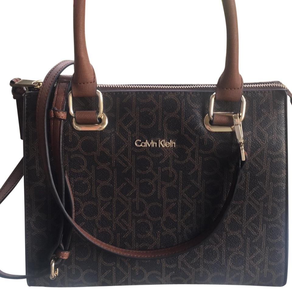 8c54c440ae9 Calvin Klein Collection Satchel in CK Canvas Monogram/Leather Classic  chocolate/black piping.