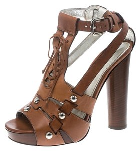 Dolce&Gabbana Leather Ankle Strap Brown Sandals