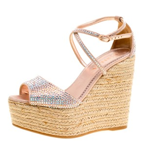 Le Silla Crystal Suede Rubber Leather Pink Sandals