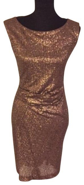 Item - Dark Gold W Sequin W/Ruching On The Short Cocktail Dress Size 4 (S)