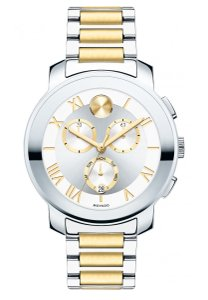 Movado Silver Gold Two Tone Stainless Steel Chronograph Bold 3600280 Watch