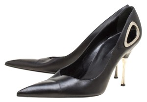 Sergio Rossi Leather Pointed Toe Black Pumps