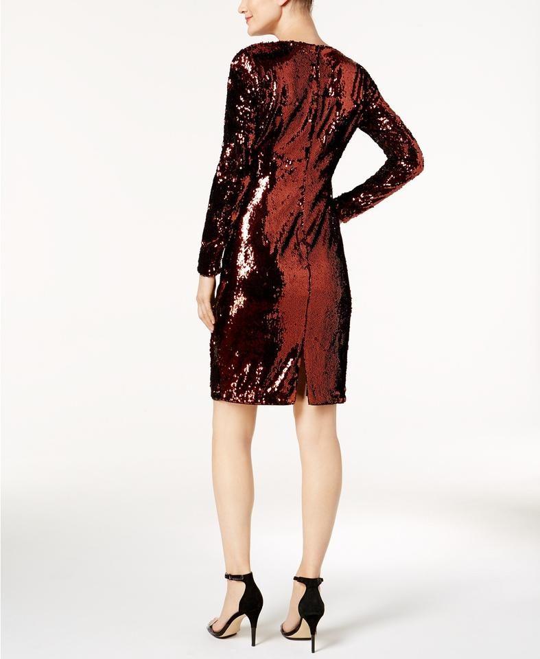 826c4bf0b94 Calvin Klein Metallic Red   Copper Sequin Long-sleeve Sequined ...